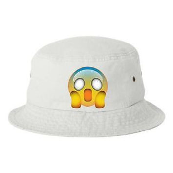 Scared Emoji Bucket Cap Hat