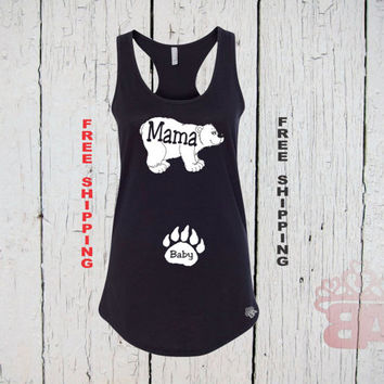 Mama Bear and Baby Bear. Mama Bear Tank Top.Bear Cub. Womens Racer Back Tank Top. FREE Shipping. Mama Tank Top. Pregnancy Announcement