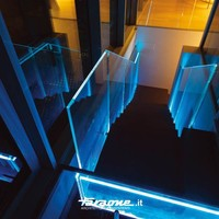 LED glass Stair balustrade Lùmina Glass and aluminium Railing Collection by FARAONE | design Massimo Iosa Ghini