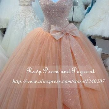 2017 Stunning Real Picture Evening Dress Straps Sweetheart Neck Bow Heavy Rhinestone Evening Gown Long Ball Gowns