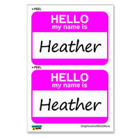 Heather Hello My Name Is - Sheet of 2 Stickers