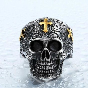 CREYCI7 Steel soldier cross skull stainless ring punk men retro jewelry new style factory price skull ring for men