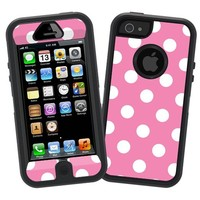 "White Polka Dot on Bubblegum ""Protective Decal Skin"" for Otterbox Defender iPhone 5 Case"