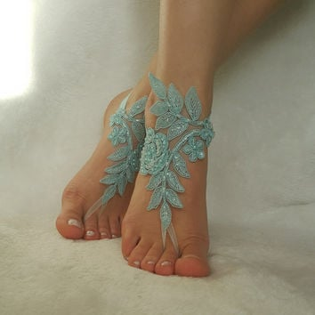 Smoked blue free ship beaded pearls country wedding beach wedding barefoot sandals embroidered bridesmaid gift unique foot accessory