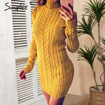 Simplee Casual twist turtleneck knitted sweater dress Plus size o neck bodycon sexy dress  female 2019 Autumn winter pullover