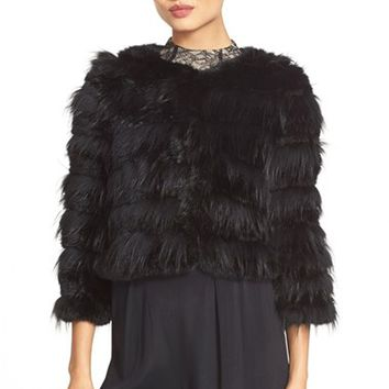 Women's Alice + Olivia 'Fawn' Genuine Rabbit & Fox Fur Jacket,