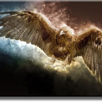 Golden Eagle Flying Picture on Acrylic , Wall Art Décor, Ready to Hang