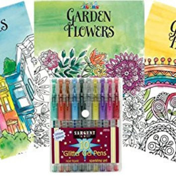 Just for Laughs Adult Coloring Book Kit with Glitter Marker Set