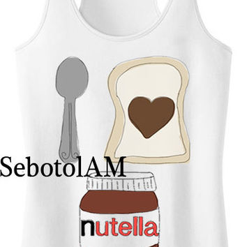 i love nutella ScreenPrint, funny shirt for Tank Top men and tank top Girl