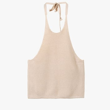 Nude Halter Neck Sleeveless Crop Top