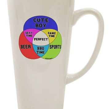 Beer Boy and Sports Diagram 16 Ounce Conical Latte Coffee Mug