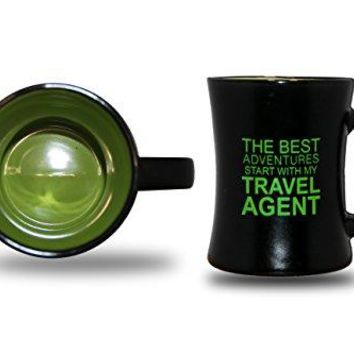 Lime Green Black 9oz Ceramic Novelty Coffee Mug The Best Adventures Start With My Travel Agent by Legacy Gifts | Perfect Inspirational Mug Gift for a Perfect Cup of Coffee, Tea or Hot Chocolate