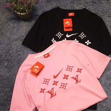 LV Shirt Nike Top Louis Vuitton Tee Women Men Word Print Tee Shirt Top  Pink