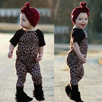 2017 Cotton Unisex Solid Covered Button Half Special Offer Limited Fashion Hello, Enjoy Baby Girl Clothes Set, Leopard Tights