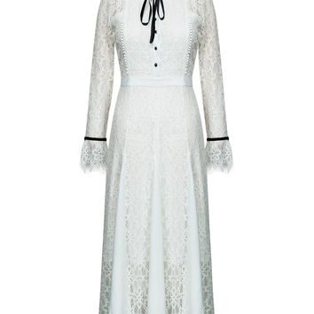 White Bow Tie Front Flare Sleeve Lace Midi Dress