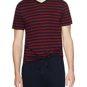 Daniel Buchler Men's Striped Short Sleeve Tee - Dark Blue/Navy - Size S