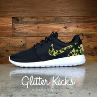 Nike Roshe One Customized by Glitter Kicks - BLACK / WHITE / CAMO PRINT