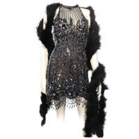 "Bob Mackie 20s Inspired Beaded Gatsby ""Flapper"" Dress"