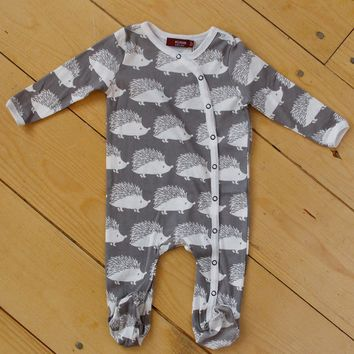 Grey Hedgehog Footed Romper