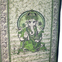 Indian Cotton Ganesha Printed Tapestry Wall Hanging Indian Bedspread Hippie Bohemian Throw Ethnic Home Decor
