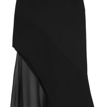 Midi skirt in black crepe and silk-chiffon | GIVENCHY | Sale up to 70% off | THE OUTNET