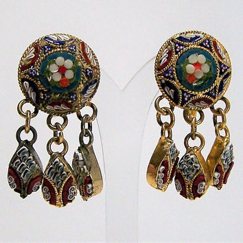 Millefiori Mosaic Glass Floral Earrings, Dangling Pendants, Murano Italy Jewelry, Mid Century Earrings, Screw Back Style 817