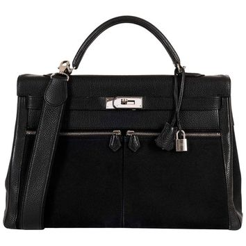 So So Rare Hermes 40cm Black on Black kelly 'Lakis' Bag with Palladium Hardware