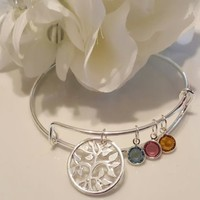 Tree of Life Bracelet, Family Tree Bracelet, Silver Bangle Bracelet