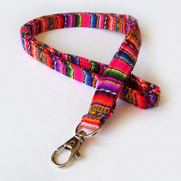 Pink Woven Lanyard / Boho Keychain / Soft Lanyard / Bohemian / Key Lanyard / Colorful / Woven Stripe Fabric / ID Badge Holder / Neon