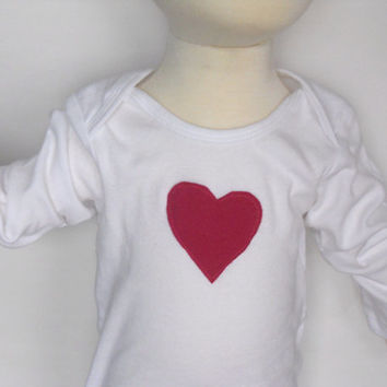 Valentine's Day Hot Pink Heart Onsie, Heart Appliqué Onsie Baby, Heart Baby Bodysuit, Heart Toddler Bodysuit, Heart T-Shirt Toddler