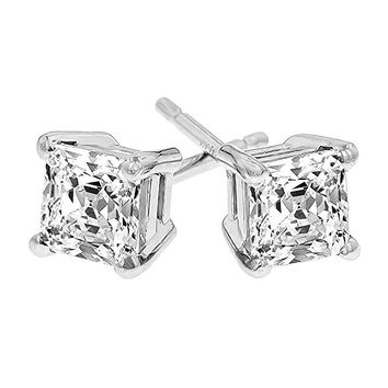 Womens Princess Cut Cubic Zirconia Stainless Steel Earrings Studs Plated White Gold 3mm-8mm 6 Pairs