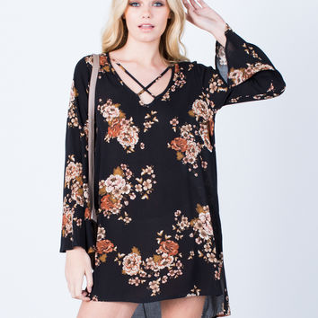 Flowy Autumn Floral Dress