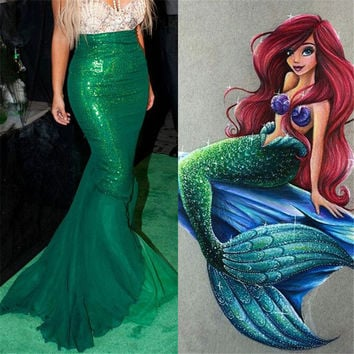 Fancy Cartoon Movie High Waist Mermaid scaly Skirts Anime Cosplay Costume for Girls women Solid Pleated Skirt Girls
