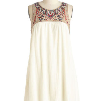 ModCloth Boho Mid-length Sleeveless Shift, Tent South of the Embroider Dress