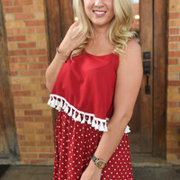 Game Day tassel dress  - Crimson
