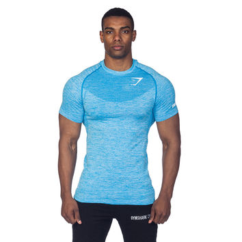 GymShark Fit Seamless T-Shirt - Aqua All men's wear | GymShark International | Innovation In Fitness Wear