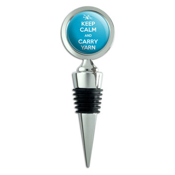 Keep Calm And Carry Yarn Knitting Wine Bottle Stopper