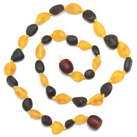 Hand Made Baltic Amber Teething Necklace for Babies - Safety Knotted - Beans Shape - Raw
