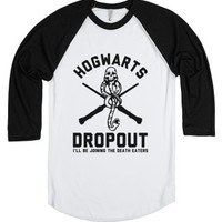 Hogwarts Dropout-Unisex White/Black T-Shirt