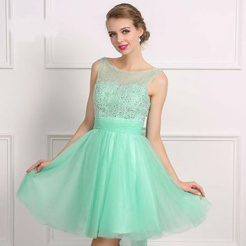 A-line Short Dresses Sleeveless Sparkly Beaded Backless Girls Prom Cocktail Dresses