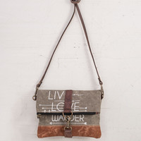 MONA B LIVE LOVE WANDER RECYCLED CANVAS FOLD-OVER CROSSBODY