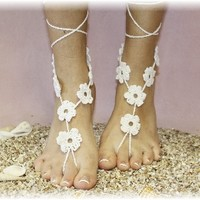 bf1 barefoot cotton crochet sandals flower