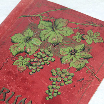 Antique Album Cover | Red Scrapbook Album Cardboard Cover with Grapes and Grape Leaves on Front | Victorian Scrapbook | Mixed Media Project