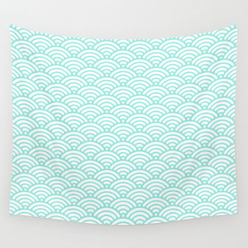 Wave Tiffany Blue Wall Tapestry by Beautiful Homes
