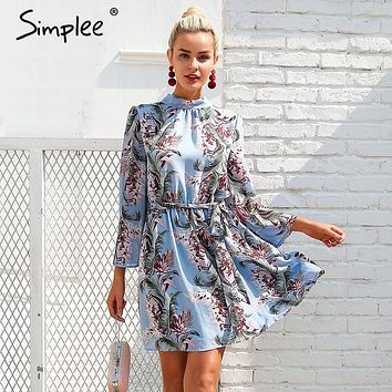 Simplee Backless lace up summer dress women Flare sleeve floral print chiffon dress Beach casual short dress