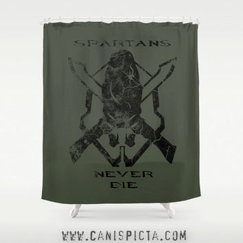"Halo Shower Curtain 71""x74"" Home Decor Spartan Elite Legendary Decorative Skull Gamer Guy Dude Bathroom Bath Alien Tub Room Gift Black Green"