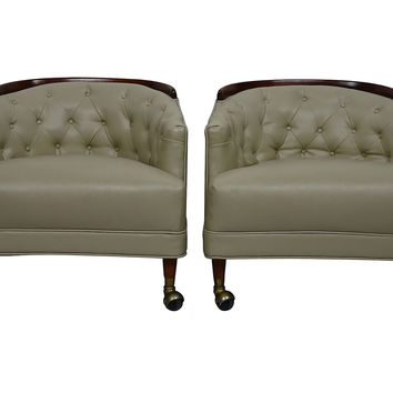 Leather Barrel-Back Club Chairs,  Pair