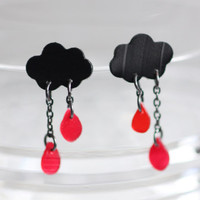 I'm Only Happy When It Rains.. Earrings made from Upcycled Vinyl Record/ LP Jewelry.