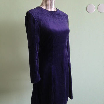 Blue Velvet Dress, Mid Length Dress, Navy Blue Cocktail Dress, 90s Grunge Dress, Flared Skirt Long Sleeve Dress, Skater Skirt Dress, Size S