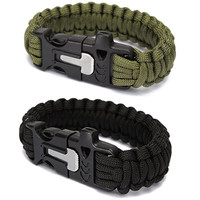Outdoor Camping Men Self-Rescue Paracord Parachute Cord Emergency Survival Bracelet Rope Kit with Flint Whistle Scraper Buckle